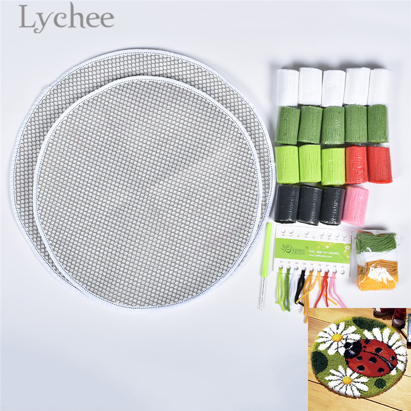 Lychee Ladybird Pattern Latch Hook Kits Unfinished Embroidery Carpets DIY Needlework Material Supplies pattern