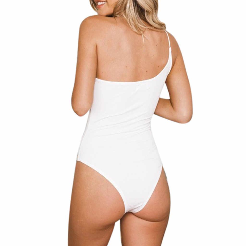 JAYCOSIN S-XL strappy bodysuit Kadınlar Seksi Katı Slash Boyun Bir Omuz Destek Rahat Streç Bodysuit pantolon askıları ile z0110