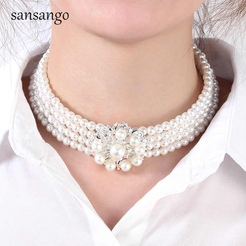 New Fashion Imitation Pearl Jewelry For Women Wedding Party Collar Adjustable Flower Choker Necklace&Earrings Set Bridal Gift