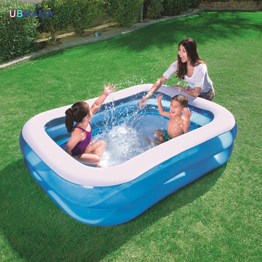 Blue pure color plastic PVC double deck family play pool inflatable swimming pool children's ocean pool thicker version deluxe edition 2 meters large family luxury inflatable swimming pool game pool children s play pool
