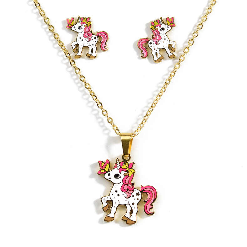 Cartoon Pink Horse Unicorn Design Enamel Gold Necklace Earrings Set Earrings Jewelry Gift Children wholesale