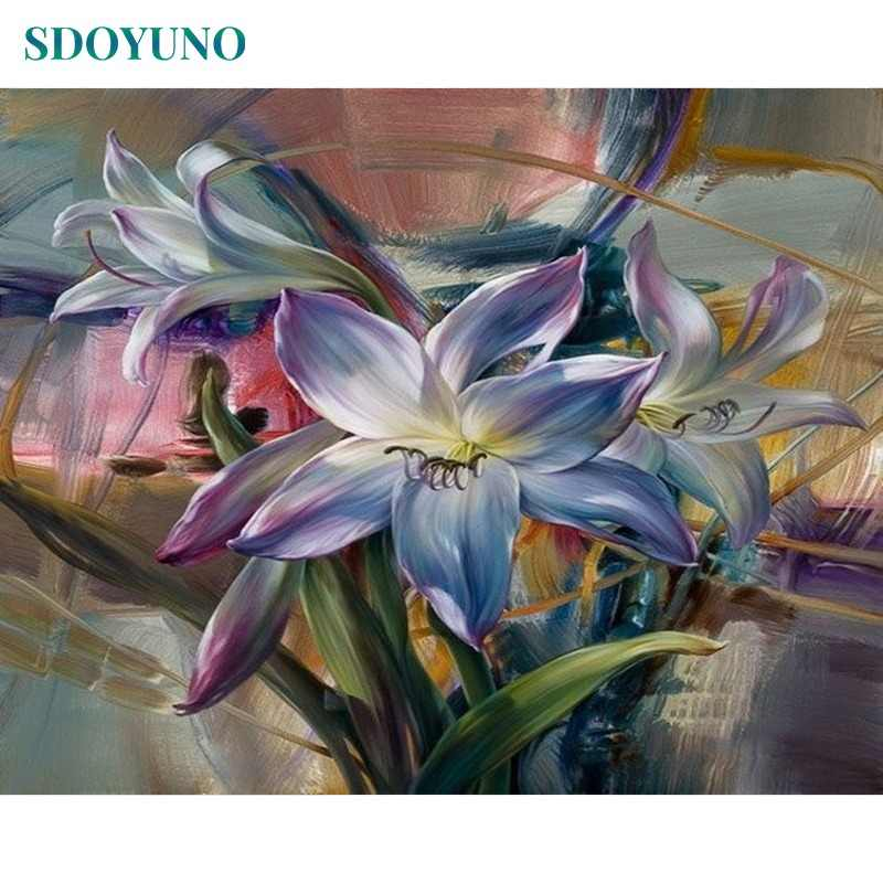 SDOYUNO Frame Purple Flowers DIY Painting By Numbers Kits Acrylic Paint On Canvas Modern Wall Art For Home Decoration 40x50cm