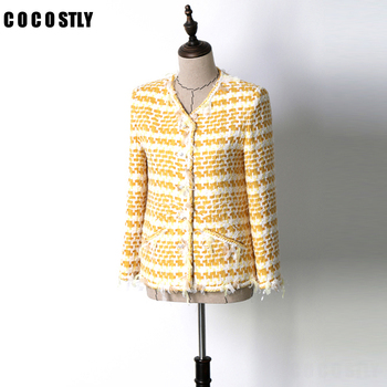 2018 Autumn Jacket Women Coat Yellow Classic Short Tweed jacket fringed Long sleeved side pockets veste femme
