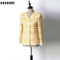 2018 Autumn Jacket Women Coat Yellow Classic Short Tweed jacket fringed Long sleeved side pockets veste femme
