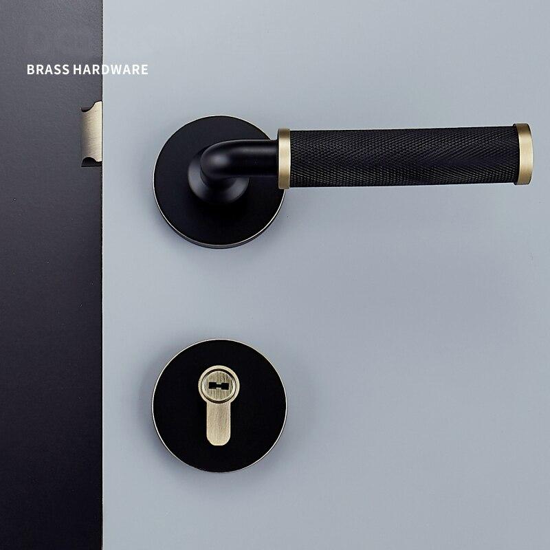1 ensemble moleté/texturé en laiton matériel intérieur serrure de porte salon/chambre poignée de porte serrure pour 35-50mm portes