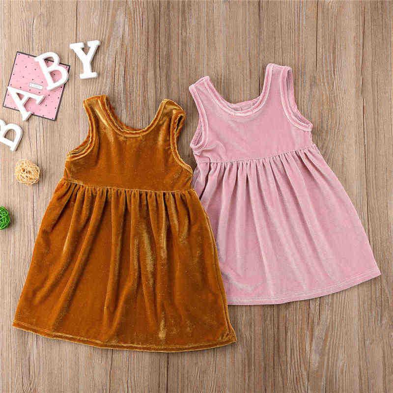 c5760f869c9d6 Infant Baby Girls Gold Pink velvet Dress Kids Sleeveless Button Retro  Dresses Princess Babes Solid Mini Dresses 0-4Y Clothing