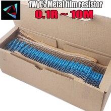 1000 шт. 1 Вт 0.1R~ 10 м 1% металлического пленочного резистора 100R 220R 1K 1,5 K 2,2 K 4,7 K 10K 22K 47 к 100 0,1 0,22 0,33 0,47 0,68 ohm Сопротивление