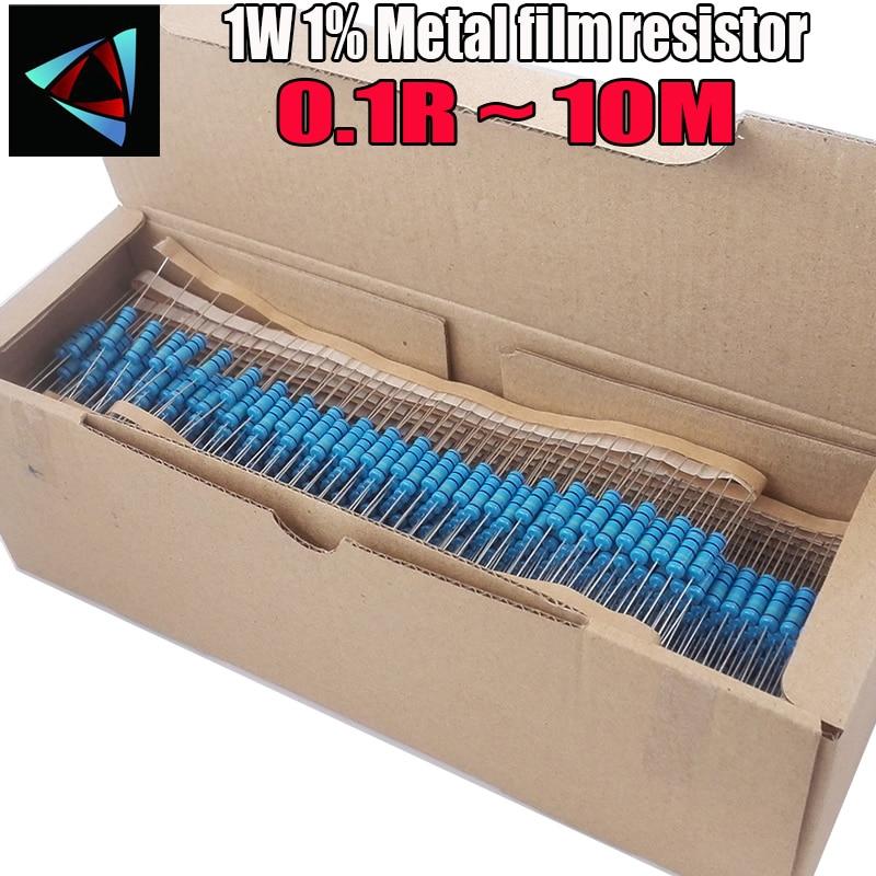 1000pcs 1W 0.1R~10M 1% Metal Film Resistor 100R 220R 1K 1.5K 2.2K 4.7K 10K 22K 47K 100K 0.1 0.22 0.33 0.47 0.68 Ohm Resistance