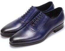 ГОРЯЧАЯ ПРОДАЖА! красное вино/черный/синий острым носом оксфорд обувь Мужская свадебные туфли из натуральной кожи бизнес обувь мужская платье обувь