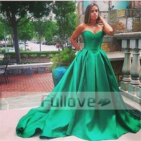 Emerald Green Satin Prom Dress Long 2017 Sweetheart Slim Cut A Line Formal Prom Dresses Party