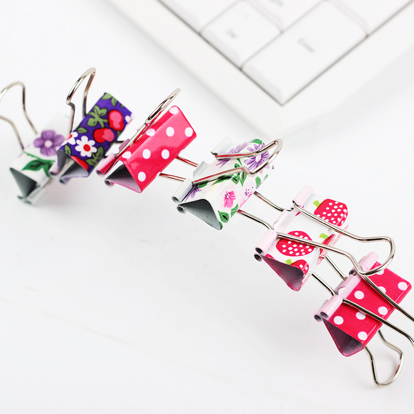 24PCS/lot Large Size Flower Printed Metal Binder Clips