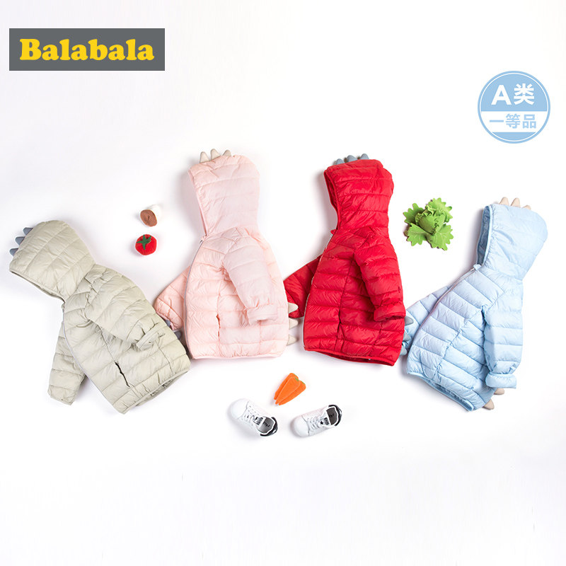 Balabala Children Winter Down Coat For Babys New Brand Fashion Solid Hooded Unisex Infant Jackets Children Down Warm