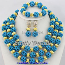 Blue African Beads Necklace Bracelet Clip Earrings Jewelry Sets Nigerian Crystal Bridal Jewelry Sets Free Shipping AJS752