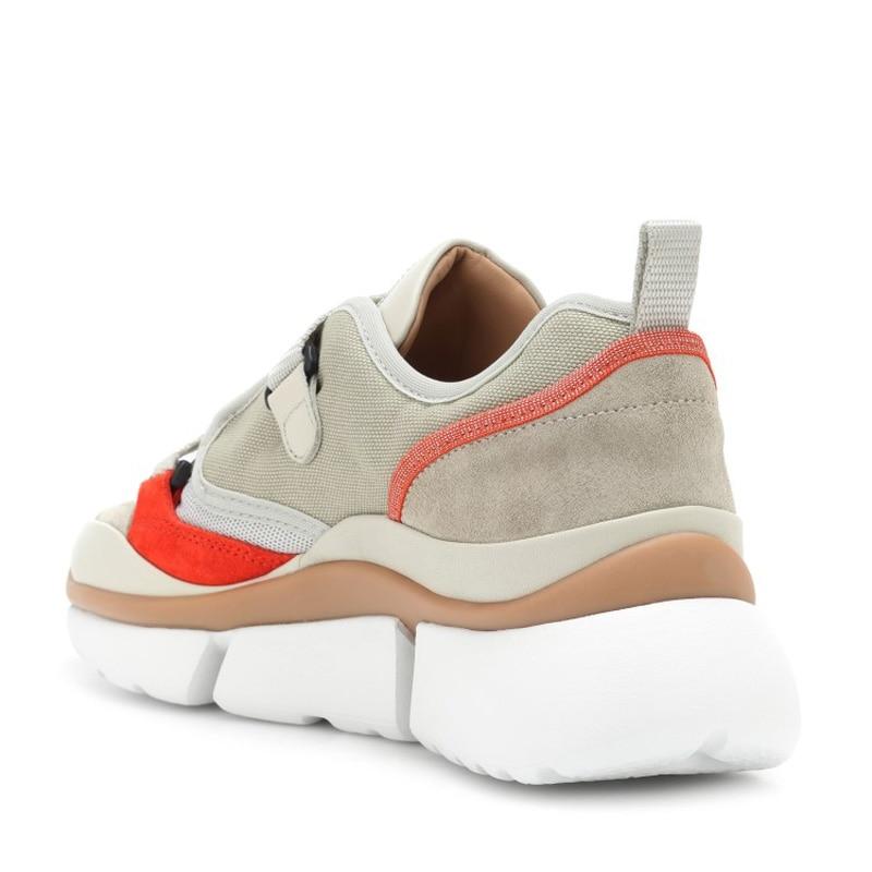 forme Femme Maille Mode white Knsvvli 2018 Décontractées Apricot Plus Mujer Patchwork Couleur Récent Plate Zapatos grey Mixte Confort Chaussures Vachette AjL3R54