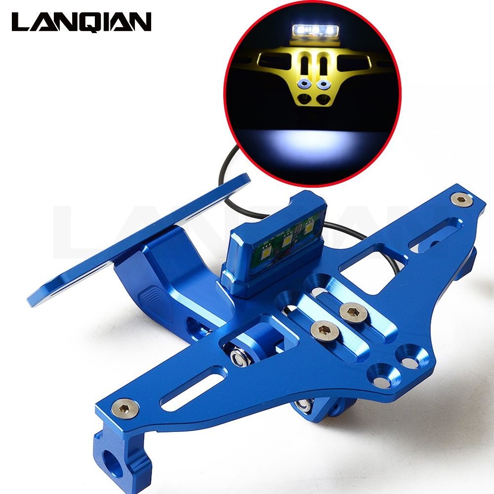 Motorcycle CNC License Plate Holder Bracket Adjustable Angle Fender Eliminator LED For <font><b>Yamaha</b></font> <font><b>XT1200</b></font> Super Tenere/ES XT660 R/X/Z image