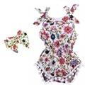 2017 nuevo vintage floral de algodón mameluco del bebé recién nacido niñas pompón trajes mamelucos del bebé infantil lindo niño niños ropa