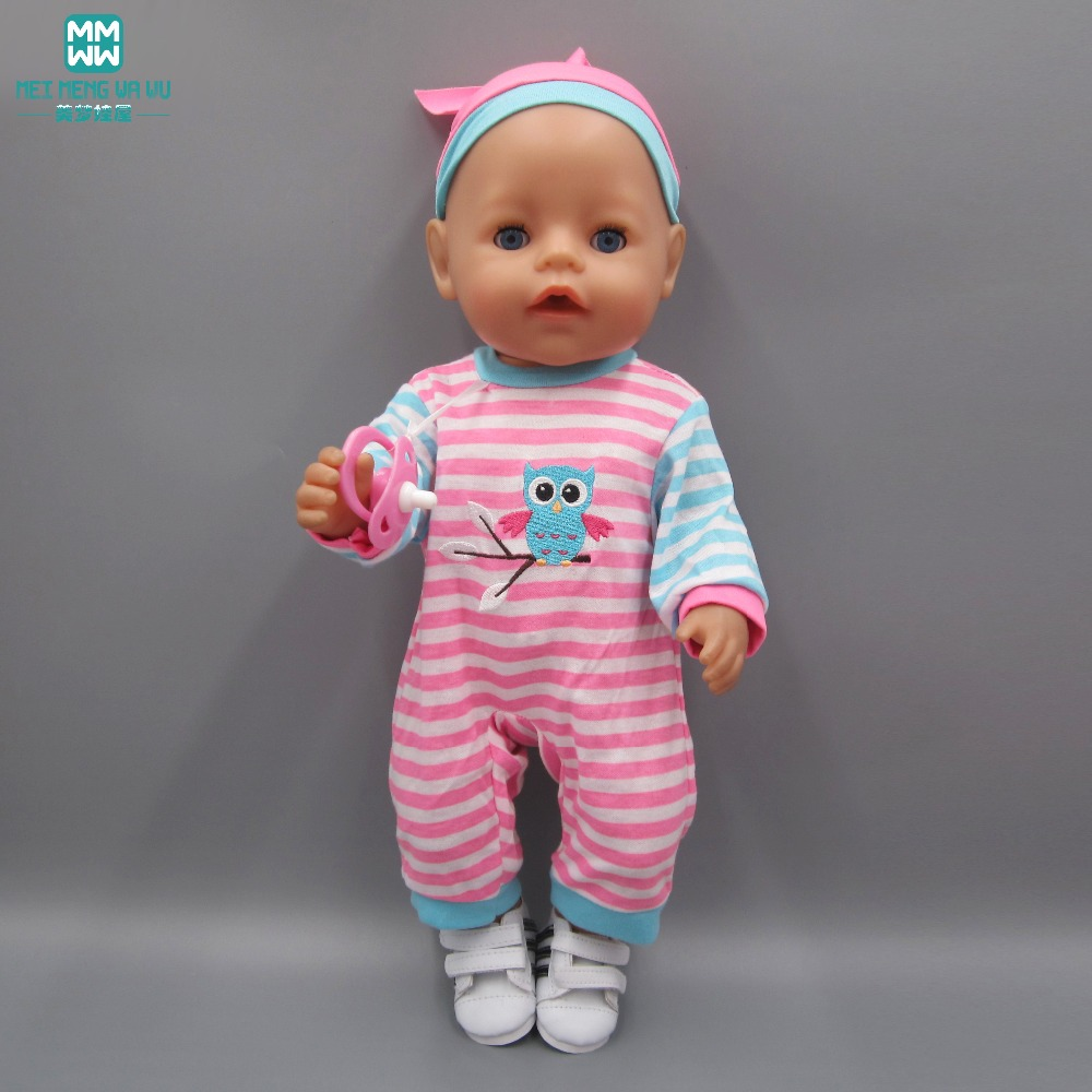Clothes for dolls fits 43-45cm American girl Baby Born zapf doll Striped casual suit