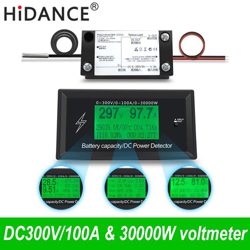 300 v/100A digitale DC voltmetro amperometro tensione auto misuratore di capacità della batteria volt corrente wattmetro rilevatore di potenza tester di alimentazione