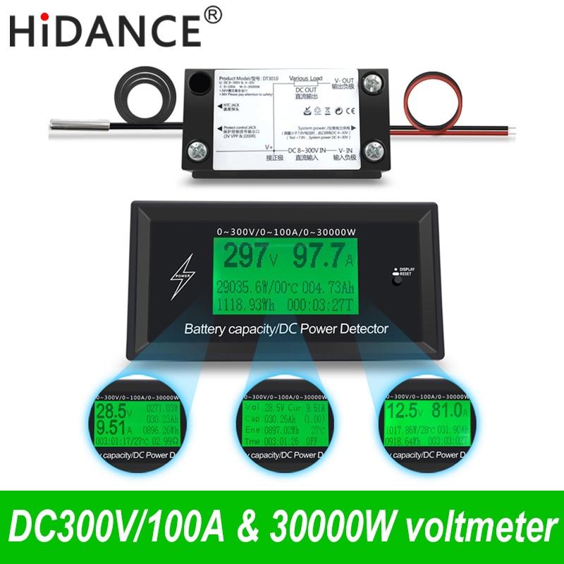 300V/100A Digital DC Voltmeter Ammeter Voltage Meter Car Battery Capacity Volt Current Wattmeter Detector Power Supply Tester