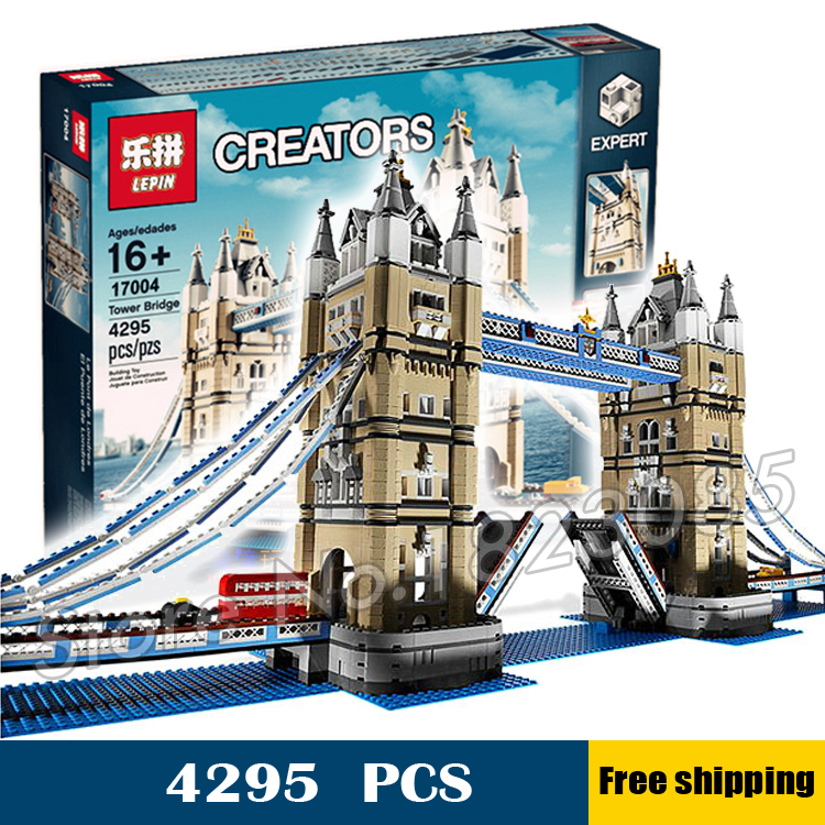 4295pcs New Lepin 17004 Huge Tower Bridge DIY Model Building Blocks unique Drawbridge Toys Sets Compatible with Lego lepin 02012 city deepwater exploration vessel 60095 building blocks policeman toys children compatible with lego gift kid sets