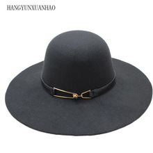 HANGYUNXUANHAO Hot Sale Casual Fedora Cap Wide Brimmed Dome Hats High Quality Wool Floppy Hat Womens Black Cloche