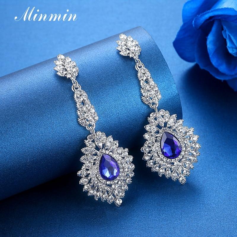 Minmin Mewah Teardrop Crystal Long Drop Earrings Perak Warna - Perhiasan fesyen - Foto 5