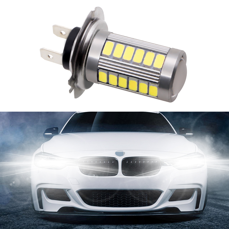 1pcs H7 33 SMD 5630 Car Led Fog Lamps 33SMD Auto Turn Lights Running Light Rear Reverse Bulbs White Yellow Blue