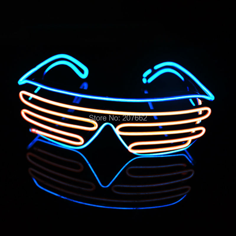 Free shipping 20pcs/lot El Wire Fashion double color LED Lighting flash Shutter Glasses Sound Music Voice Activate led glasses