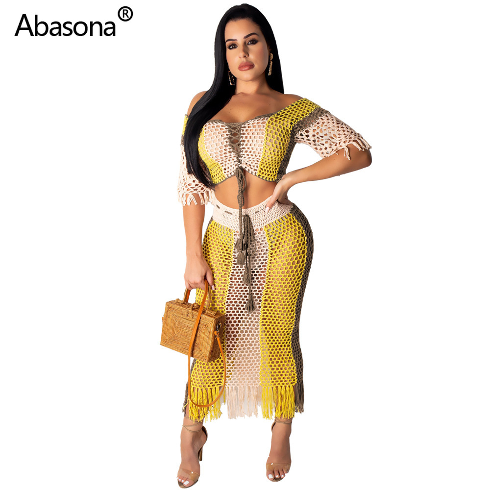 2019 Women Summer Gauze Grid Fishnet See Though With Tassel Two Piece Set Beach Crop Top Midi Maxi Skirt Suit Bodycon Dress