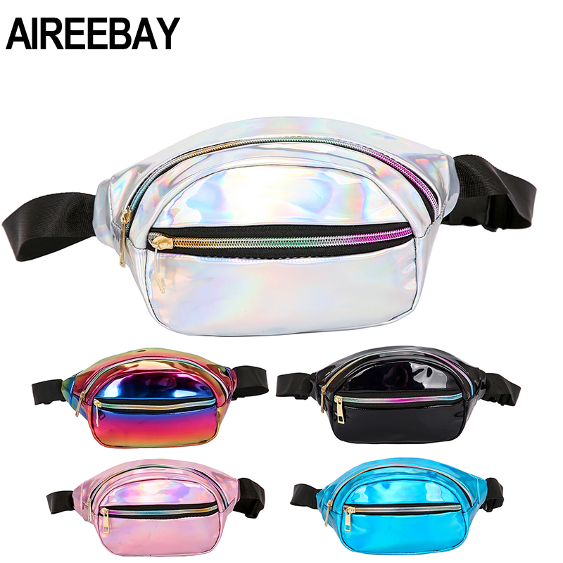 AIREEBAY Women Waist Bag New Brand Waterproof Chest Handbag Unisex Silver Fanny Pack Ladies Pink Waist Pack Belly Bags Purse