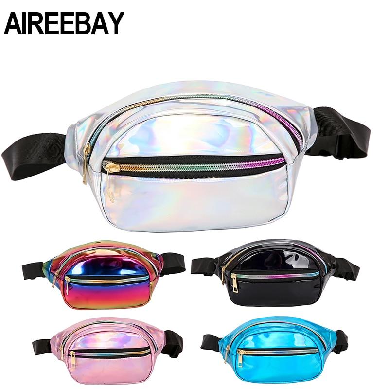 AIREEBAY Women Waist Bag New Brand Waterproof Chest Handbag Unisex Silver Fanny Pack Ladies Pink Waist Pack Belly Bags Purse
