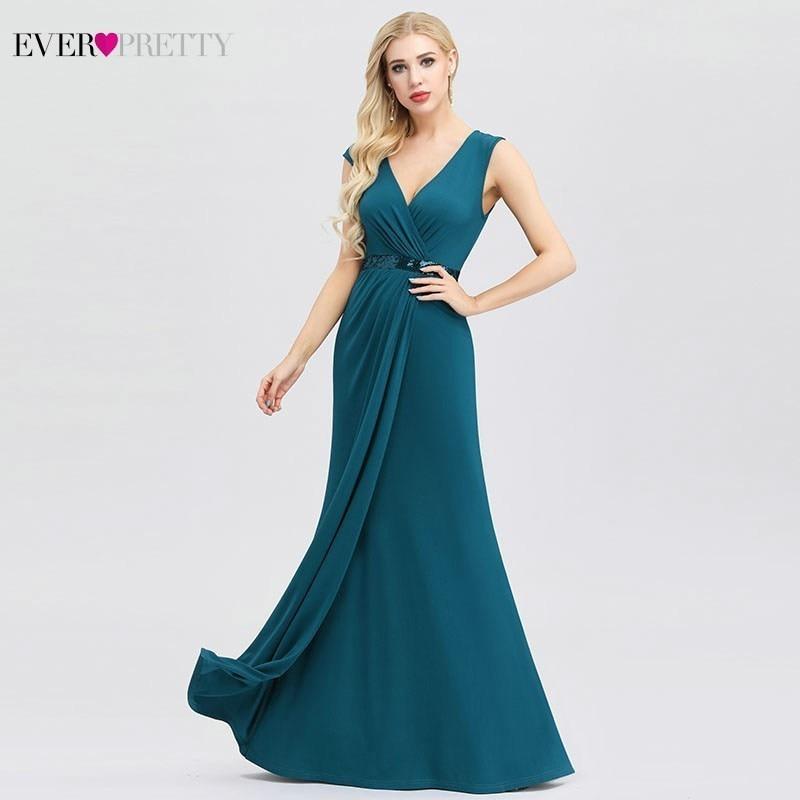 Ever Pretty Elegant Bridesmaid Dresses Mermaid V-Neck Teal Sequined Dresses For Wedding Party Robe Demoiselle D'honneur 2019