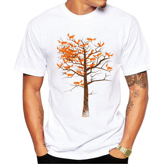2017 Fashion Blazing Fox Tree Design Men T shirt Short Sleeve t-shirt Hipster Foxes Cartoon Printed tees Cool Tops