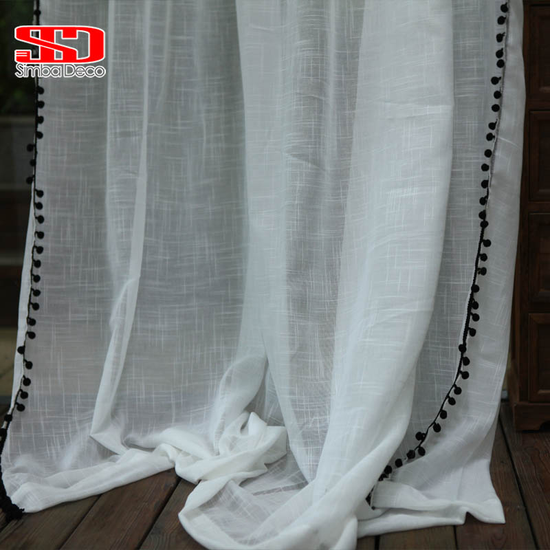 Black Ball Tassels White Tulle Curtains for Living Room Boho Cotton Linen Sheer Curtians for Bedroom Window Treatments Voiles