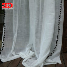 검은 색 공 Tassels 거실 용 흰색 얇은 명주 커튼 Boho Cotton Linen Sheer Curtians for Bedroom Window Treatments Voiles(China)