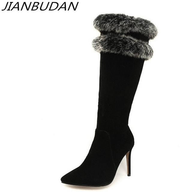 4f3b9f110b2 US $25.47 48% OFF|JIANBUDAN/ Sexy women's winter long high boots 10cm high  heel Rabbit hair boots Premium material winter boots 34 46 size plus -in ...