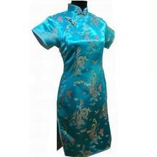 New Arrival Chinese Female Qipao Short Style Cheongsam Women Traditional Silk Satin Dress Dragon&Phenix Size S M L XL XXL WC010