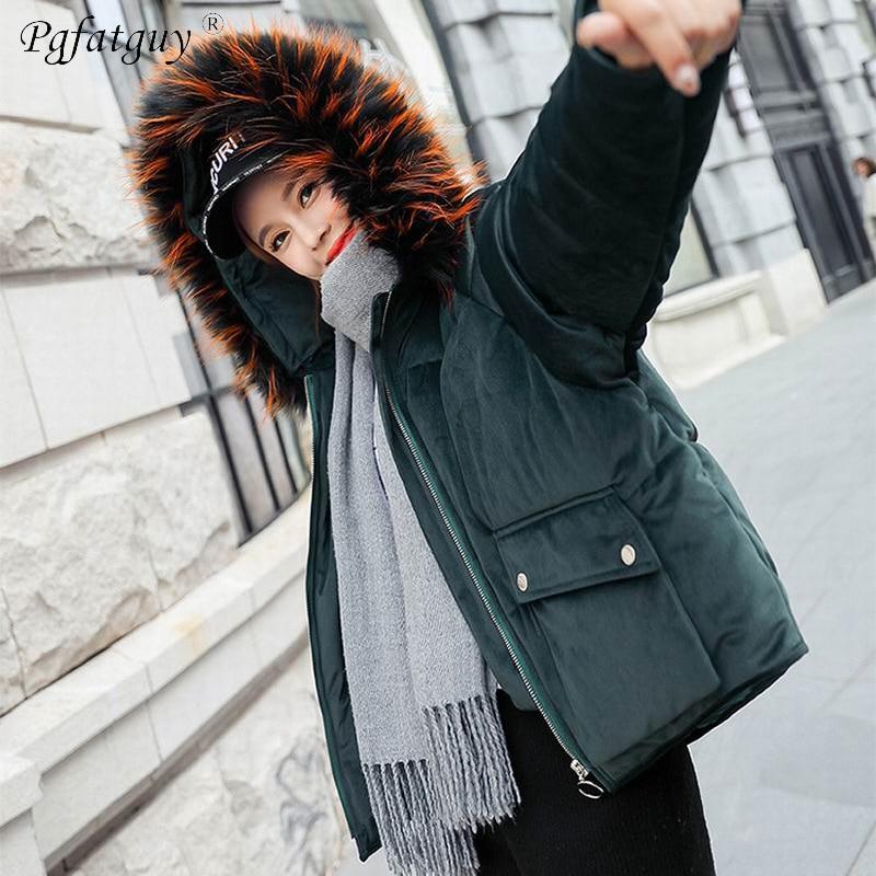 Capuchon Courte Grande Royal 2018 Coton Chaud Femelle D'hiver Manteau Mujer D'or Parkas Manteaux vert bleu Rembourré Bas Veste Fourrure À noir rose Femmes Vers Beige Velours Le UwI8nFq