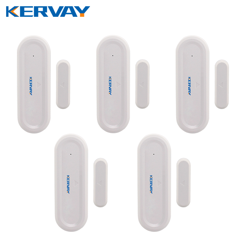 Kervay 5pcs/lot 433mhz white color wireless Door Window security Sensor for our WIFI GSM alarm system forecum 433mhz wireless magnetic door window sensor alarm detector for rolling door and roller shutter home burglar alarm system