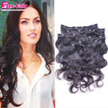 Clip in human hair extensions Body wave clip in hair extensions Brazilian unprocessed remy human hair Clip-In 7pcs 10pcs stocked