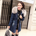 Fur Collar With Hooded Denim Parkas Women Jackets And Coats Winter Manteau Femme Vintage Plus Size Parka Coat A2484