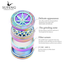 ФОТО new type with drilling zinc alloy 4-layer tobacco grinder, ice blue fashionable maple leaf tobacco grinder, a variety of choices