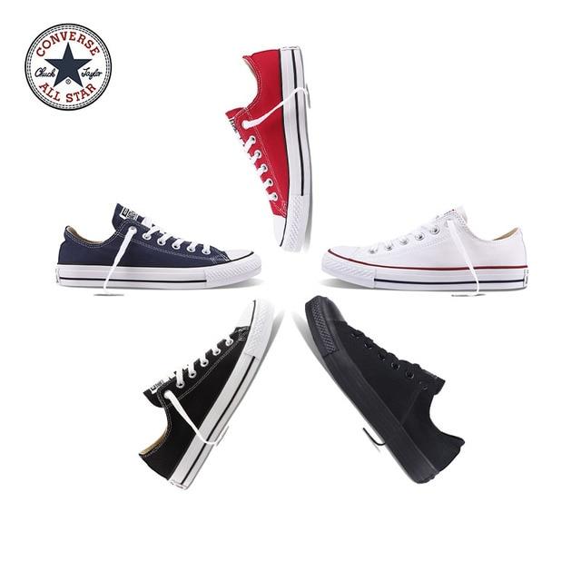 Auténtico Converse ALL STAR Classic de lona transpirables Low-Top zapatos de skate zapatos Unisex Anti-deslizante zapatillas de deporte para hombres jóvenes