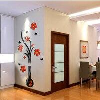 60x140 cm Naklejki Ścienne 3D Wazon Kwiat Drzewa Kryształ Arcylic Kalkomania Malowidła Tapety dla Sofa TV Tle Ściany Salon