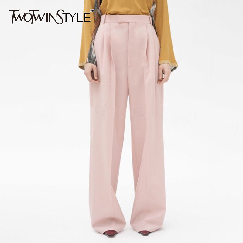 TWOTWINSTYLE Solid Women's   Wide     Leg     Pants   High Waist Ruched Maxi   Pants   Female 2019 Autumn Korean Style Fashion Casual Clothing