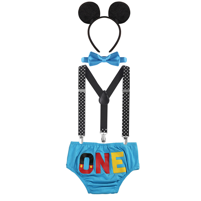 4pcs Set Baby Boy Girl Mickey Mouse Clothing 1st Birthday Party Cake Smash Outfit Pants Suspenders Photo Costume Baby Clothes