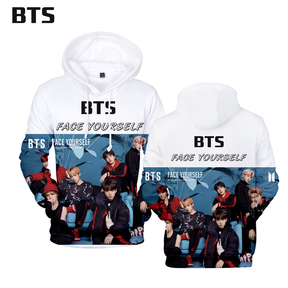 BTS 2018 FACE YOURSELF 3D Hoodies Men Hip Pop Fashion Anime Fans sweatshirts Autumn/Winter Women Hoodies Hot Sale Plus Size 4xl