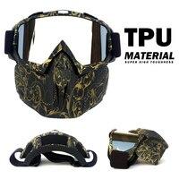 オートバイゴーグルマスク取り外し可能なパディング保護ヘルメットサングラスフェイスマスクロード乗馬 Uv バイク