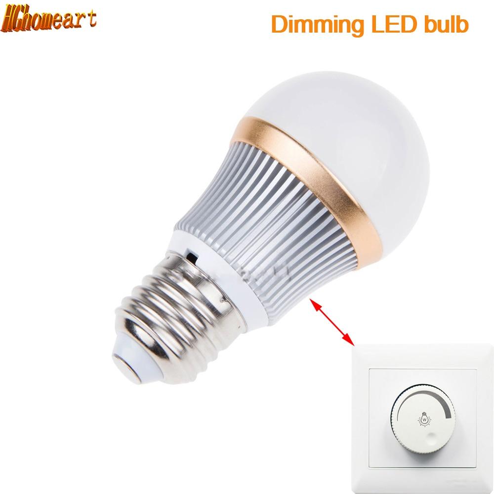 HGhomeart Dimmable E27 LED Lamp Bulb 3W 2835 LED Lights Led Bulb Light Lighting High Brighness Silver Metal Light-emitting Diode