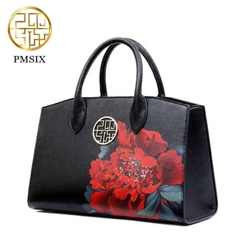 PMSIX 2019 Luxury Print Flower Split Leather Women Handbag popular shoulder bag women famous brands clutch bag